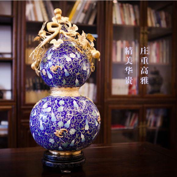 景泰蓝福禄万代葫芦瓶