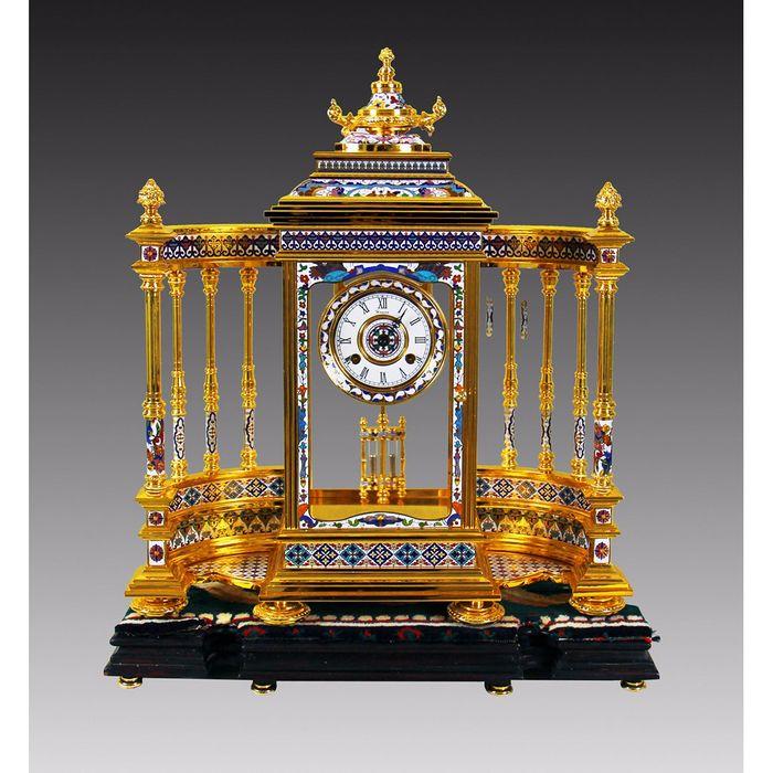铜胎掐丝珐琅围屏钟表