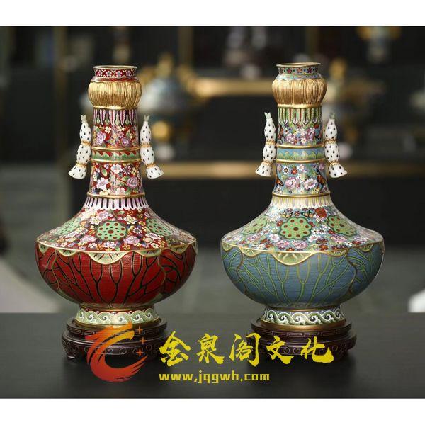景泰蓝15寸嵌玉莲花蝶